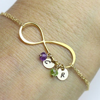 initial infinity Bracelet.  two initials, two Birthstone gold filled Bracelet . love,couple,Mom,Sister,Wife,Bridesmaid Gift