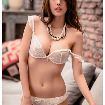 Phoebe Chiffon & Lace Demi Unlined Bra Set (White)