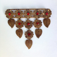 1930s Czech Filigree Dangle Brooch - Statement Piece!