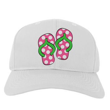Cute Polka Dot Flip Flops - Pink and Green Adult Baseball Cap Hat