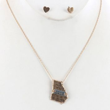 Sliver State Of Georgia Matte Finish Metal Necklace And Earring Set