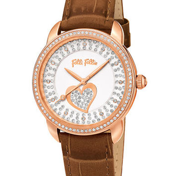 Folli Follie Ladies Rose Gold Heartime Watch with Brown Strap