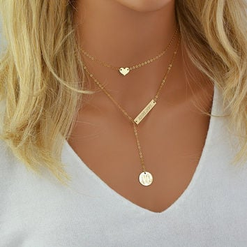 Gold Choker Necklace, Name Plate Necklace Personalized Layered Necklace, Tiny Heart Necklace, Monogram Necklace Gold, Silver, Rose Gold