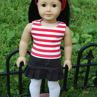 American Girl Doll Clothes - Grey Sweater, Red Striped Tank,  Pleated Skirt, 18 inch doll clothes,  AG clothes,  AG dress,  Our Generation