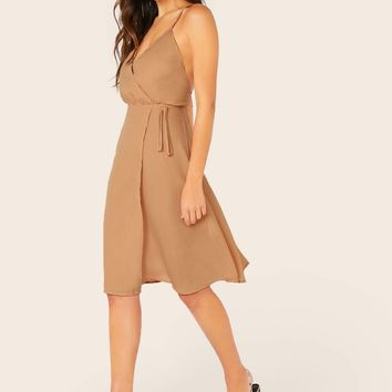 Tie Side Crisscross Open Back Wrap Slip Dress