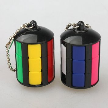 Colorful Portable Magic Tower with Key Ring Magic Cube Puzzle Education Toys for Kids Children