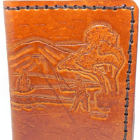 Hand Carved Leather Fisherman Billfold Wallet Hand Carved Fishing Scene Bifold Wallet Handmade Interior Hand Stitched Unique Christmas Gifts