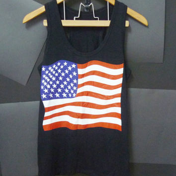 Cute Cotton American flag tank top size S/M/L/XL black shirt Unisex Women tshirts, Men singlet, t shirts, workout tank, sleeveless top