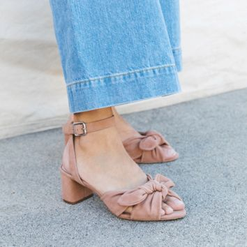 Loeffler Randall | Loeffler Randall Jill Knotted Block Heel With Ankle Strap in Buff Pink kid suede
