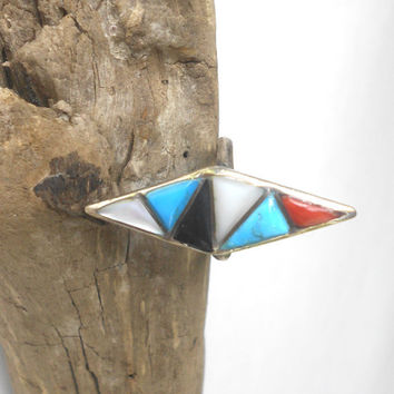 Old Pawn Navajo Ring, 925, Mother of Pearl, Turquoise, Natural Coral Inlay Zuni Jewelry
