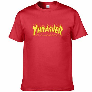 THRASHER classic flame logo summer couple models cotton personality T-shirt F0227-1 red