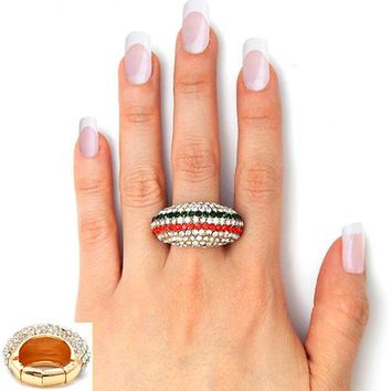 """.60"""" gold crystal pave dome striped stretch cocktail ring"""