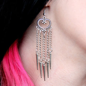Heart and Spikes Earrings
