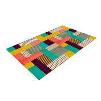 "Louise Machado ""Geometric Love"" Pattern Abstract Woven Area Rug"