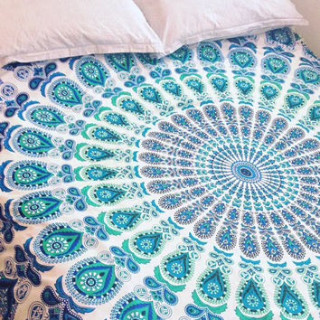 UK Seller Handmade White & Turquoise Mandala Double Duvet Cover