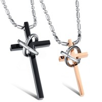 MagicPieces Women's Titanium Stainless Steel Cross Shape with Two Rings Design Couple Necklace
