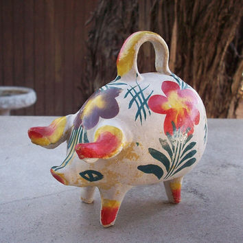 Authentic Mexican Folk Art Rustic Handmade Mexican Pottery Piggy Bank Mexican Piggy Bank
