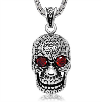 2015 Jewelry Floating Locket Charms Personalized Jewelry Punk Men And Women Skull Necklace, Titanium Steel Male Pendant Sp407