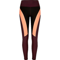 RI Active dark red block panel gym leggings