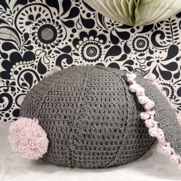 Crochet pouf ottoman grey bunny children's floor pillow