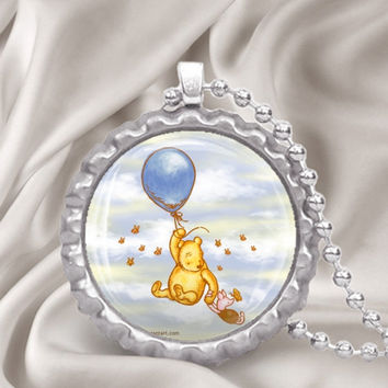 Classic Winnie the Pooh & Piglet w/ a Balloon Bottle Cap Necklace
