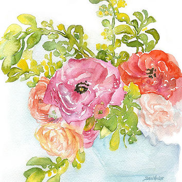 Ranunculus Watercolor Painting Giclee Print 8 x 10 Floral - 8.5 x 11 Fine Art Print