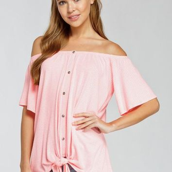 Off Shoulder Striped Top - Pink