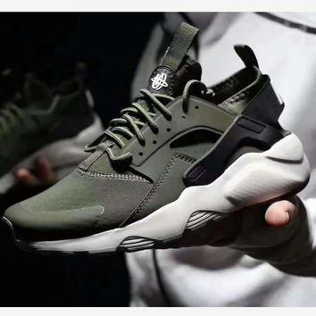 """NIKE"" men and Women Casual Running Sport Shoes Sneakers Huarache Army green"
