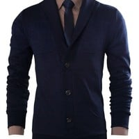 Tom's Ware Mens Basic Slim Fit Plain Button Front Cardigan