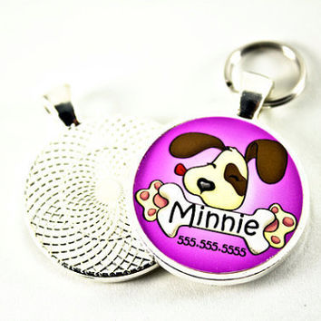 Cute Puppy Licking a Bone Pet Tag Purple Color by WagAvenue