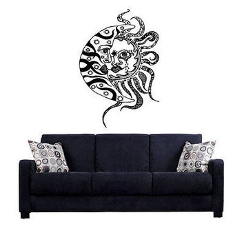 Sun and Moon We live by the Hippie Children of Flowers Wall Sticker Decal tr227