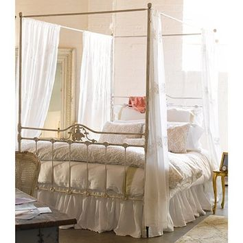 Rachel Ashwell Shabby Chic Couture Iron Canopy Bed Antique White