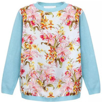 Long Sleeve Floral Knit Sweater