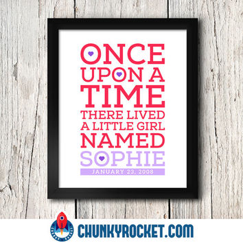 Once Upon a Time Wall Art Prints / Birth Date / Baby Girl / Pink / 8x10 inch / Baby Girl Decor / Girl's Room Decor / Kids Art