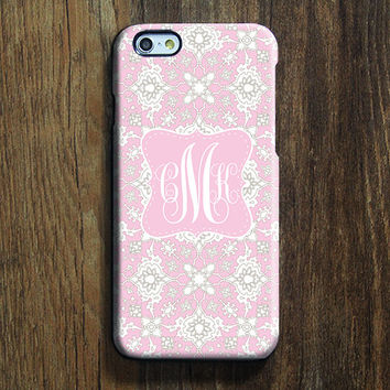 Pink White Floral Monogram iPhone 6s Case iPhone 6 plus Case Custom iPhone 5S Case iPhone 5C Case iPhone 4S Case Galaxy S6 Edge S5 Case 111