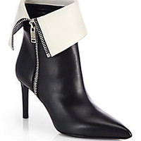 Saint Laurent - Bicolor Leather Fold-Over Ankle Boots - Saks Fifth Avenue Mobile