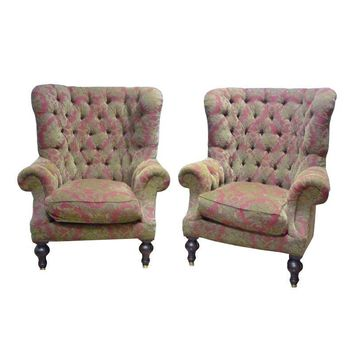 Pre-owned Lillian August Wing Back Chairs - A Pair