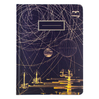 Planetary Motion Lined Grid Hardcover Journal