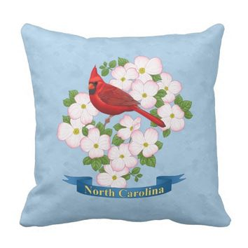 North Carolina State Cardinal Bird Dogwood Flower Outdoor Pillow
