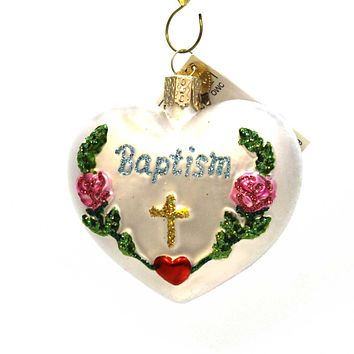 Old World Christmas Baptism Heart Glass Ornament