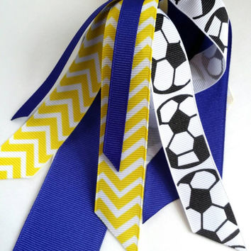 Blue and yellow soccer hair streamers, chevron ponytail ribbon, soccer ribbon hair tie, team sports, player gift, football futbol handball