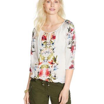 White House | Black Market Tropical Floral Peasant Blouse