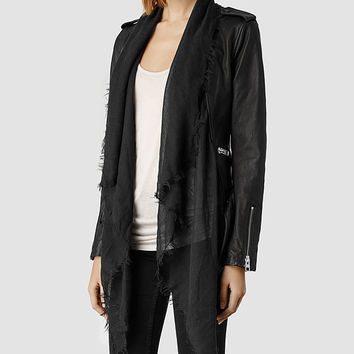 Womens Arnel Leather Biker Jacket (Black) | ALLSAINTS.com