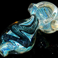 Twisted & Sparkling Color Changing Mini Glass Smoking Pipe -  Heady Fumed Dichroic Glitter Spoon Bowl w/ Huge Magnifier Marble