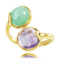 18k Yellow Gold Flashed Silver Amethyst and Chrysoprase Pass By: Round Shape Amethyst & Chrysoprase Ring in Vermeil - 18kt - Polished Finish