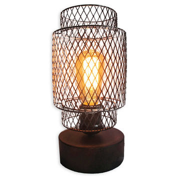 Caged Table Vintage Light Bulb Lamp with Glass Lamp Shade in Antique Bronze