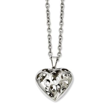Stainless Steel Puffed Heart Pendant Necklaces - 35x30mm Cable