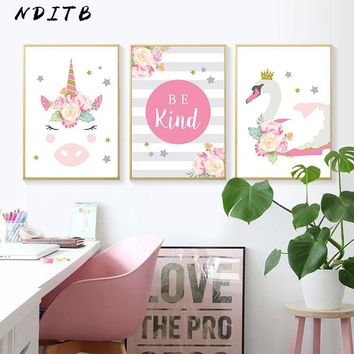 NDITB Flower Unicorn Wall Art Canvas Painting Nursery Posters and Prints Nordic Kids Decoration Picture Baby Girl Bedroom Decor