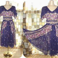 Vintage 70s Subtly Sheer Purple Floral Crepe Blousey Disco Dress Full Sweep BOHO M/L/XL