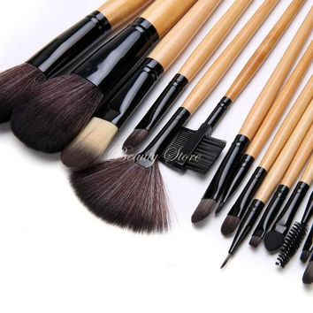 15 pcs Soft tools kit Cosmetic Makeup Brush Black Sets with Leather Case = 1932420356